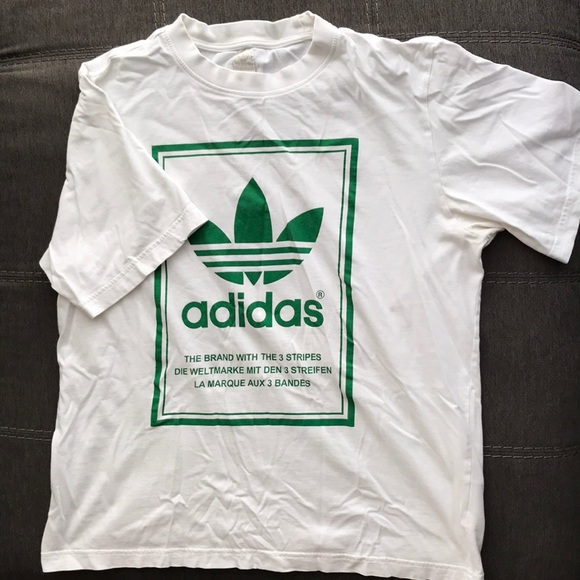 397a4aad4 adidas Shirts | Vintage White Tshirt With Mirrored Design | Poshmark